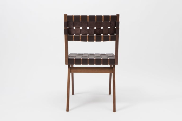 American Woven Leather Dining Side Chair in Brown by Mel Smilow For Sale
