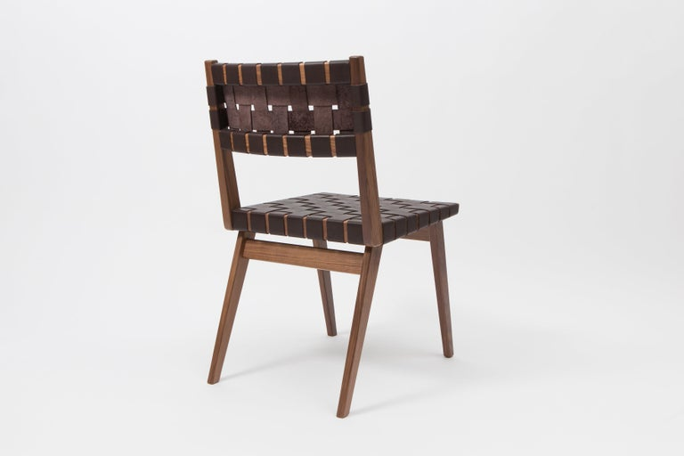 Hand-Crafted Woven Leather Dining Side Chair in Brown by Mel Smilow For Sale