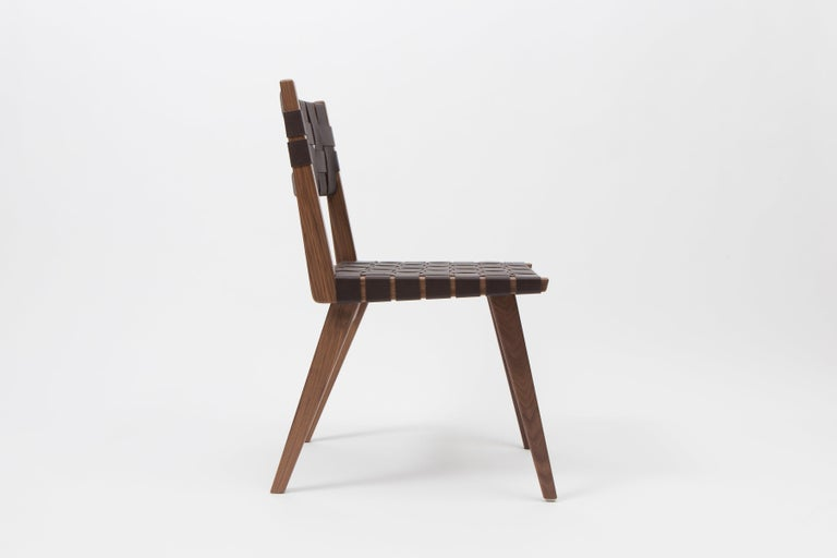 Woven Leather Dining Side Chair in Brown by Mel Smilow In New Condition For Sale In New York, NY