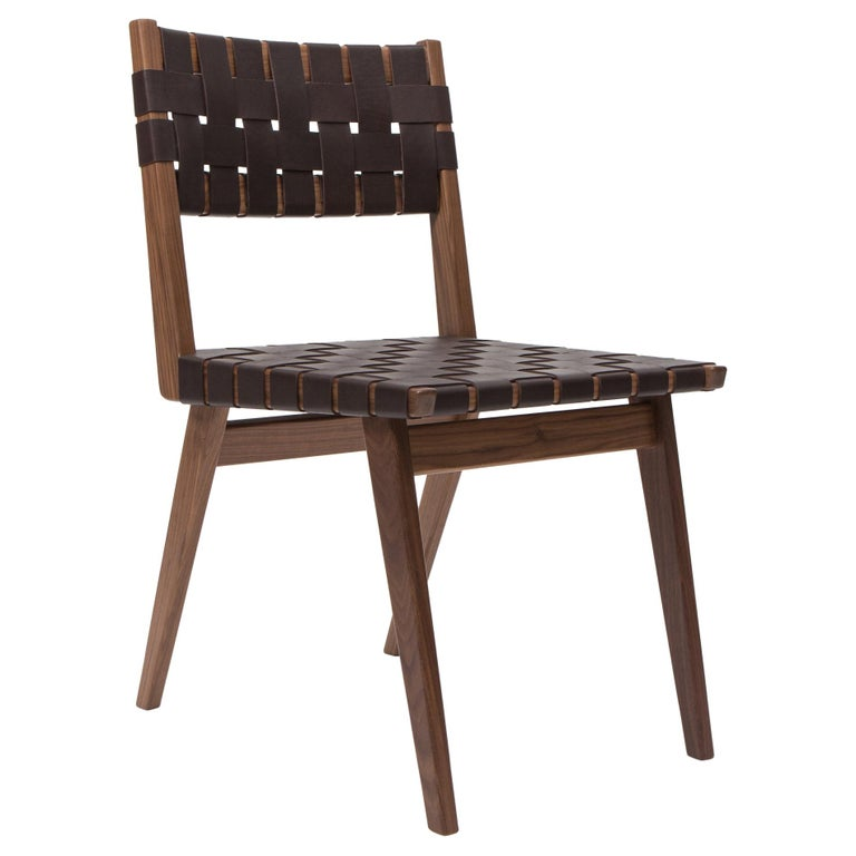 Woven Leather Dining Side Chair in Brown by Mel Smilow For Sale