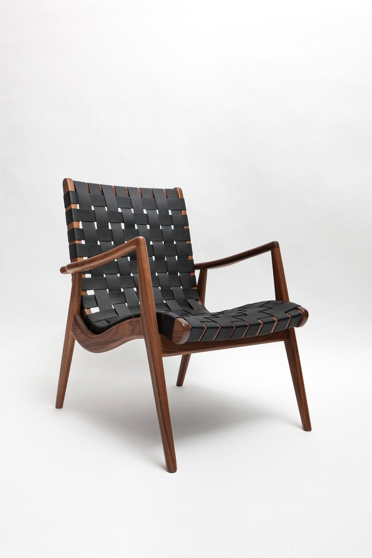 Originally designed by Mel Smilow in 1956 and officially reintroduced by his daughter Judy Smilow in 2013, the woven leather lounge chair is classically midcentury. The simplistic beauty, fine craftsmanship, and exceptional detail is present from