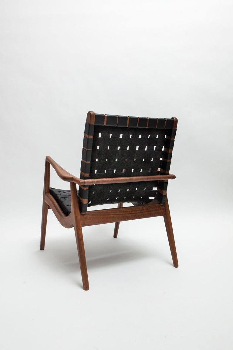 American Woven Leather Lounge Chair in Black by Mel Smilow For Sale