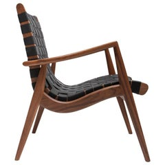 Woven Leather Lounge Chair in Black by Mel Smilow