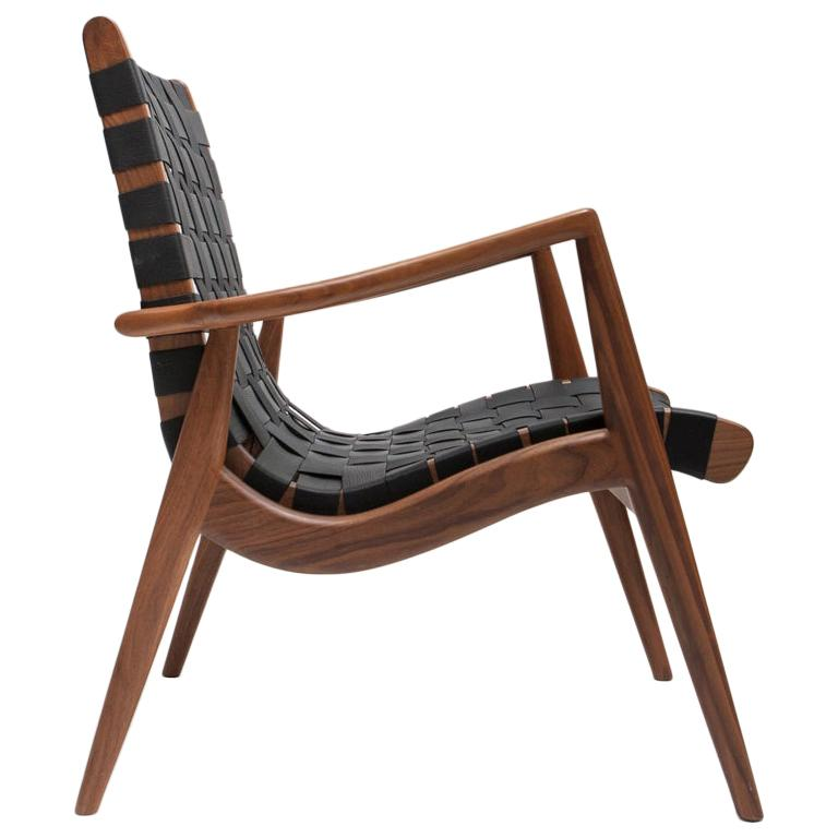 Woven Leather Lounge Chair in Black by Mel Smilow For Sale