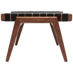 Woven Leather Ottoman in Walnut and Black Leather by Mel Smilow