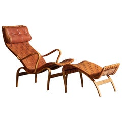 Woven Leather Pernilla 2-Lounge Chair and Ottoman by Bruno Mathsson
