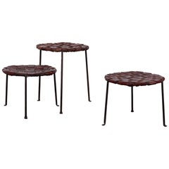 Woven Leather Stools by Lila Swift and Donald Monell