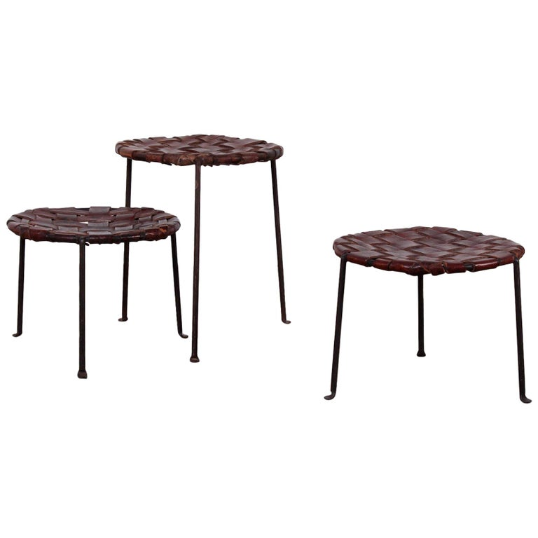 Woven Leather Stools By Lila Swift And Donald Monell For