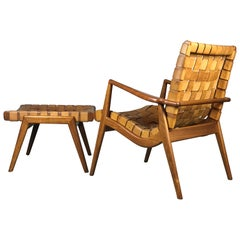 Woven Leather and Walnut Lounge Chair and Ottoman by Mel Smilow