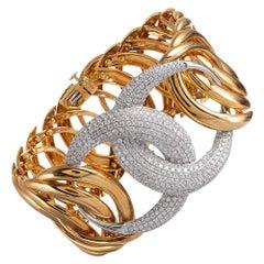 Woven Link Wide Diamond Bracelet