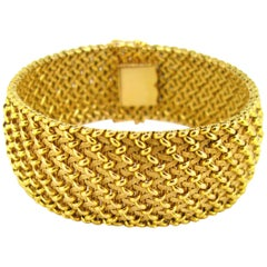 Woven Mesh Large Textured Yellow Gold Cuff Bracelet