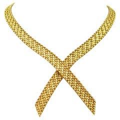 Woven Mesh Yellow Gold Necklace