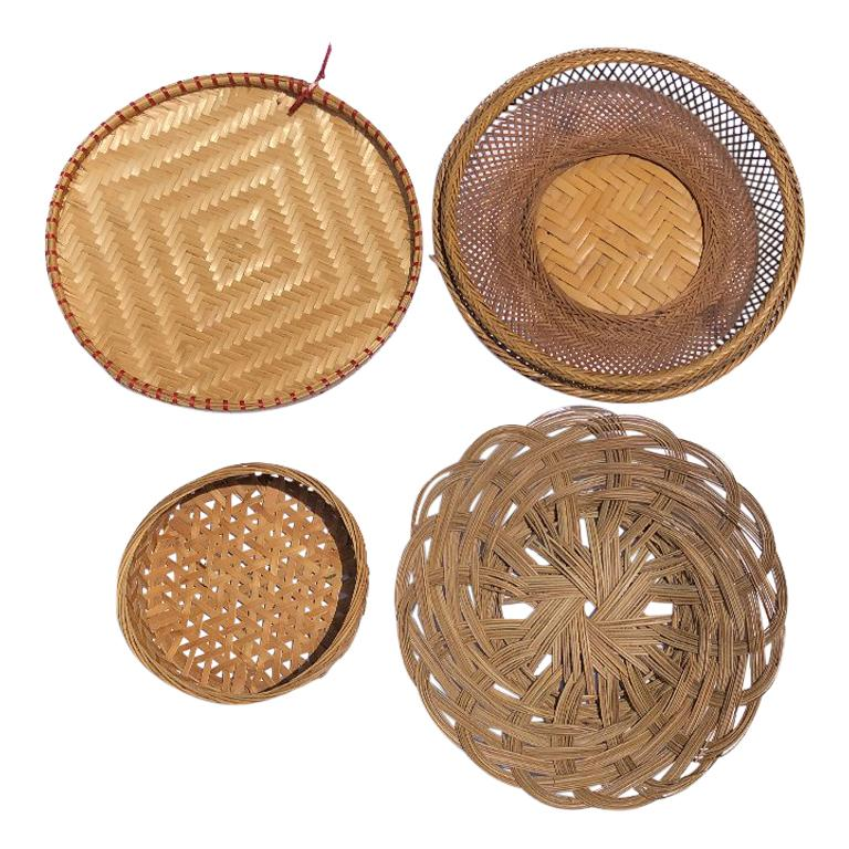 Woven Natural Chinoiserie Bamboo Cane Rattan Baskets Gallery Wall Or Table Decor At 1stdibs