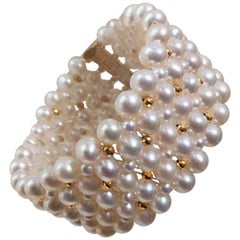 Woven Pearl Bracelet with Gold plated sterling silver  Beads, Clasp by Marina J