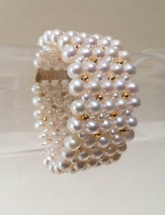 Woven Pearl Bracelet with 14 Karat Gold Faceted Beads and Clasp by Marina J