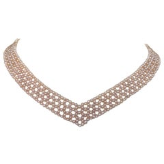 "Woven Pink Pearl ""V"" Shaped Necklace with White Gold-Plated Silver Sliding Clasp"