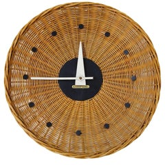 Woven Rattan 'Basket Clock' by George Nelson for Howard Miller, 1950s, Rare