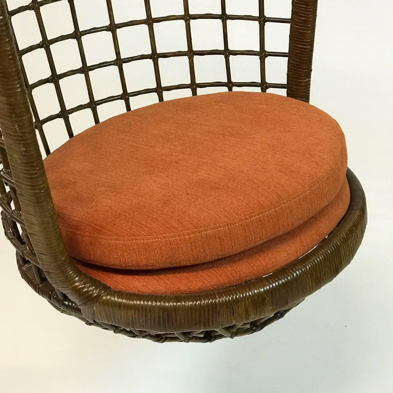American Mid Century Woven Rattan Hanging Egg Chair For