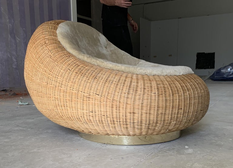Woven Rattan Lounge Chair by Rogan Gregory In New Condition For Sale In New York, NY