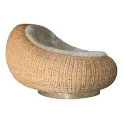 Woven Rattan Lounge Chair by Rogan Gregory