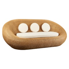 Woven Rattan Oval Shaped Couch, 1970s