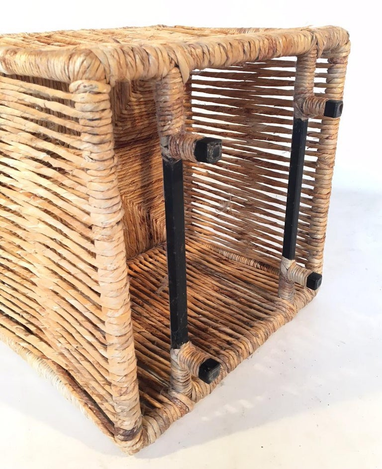 Woven Rattan Rope Weave Cube Footstool For Sale At 1stdibs