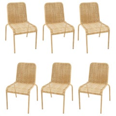 Woven Rattan Set of Six French Design Chairs