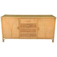 Woven Rattan Tiki Style Dresser