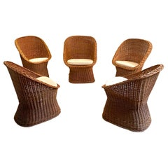 Woven Rattan Wicker Barrel Chairs, 1950s