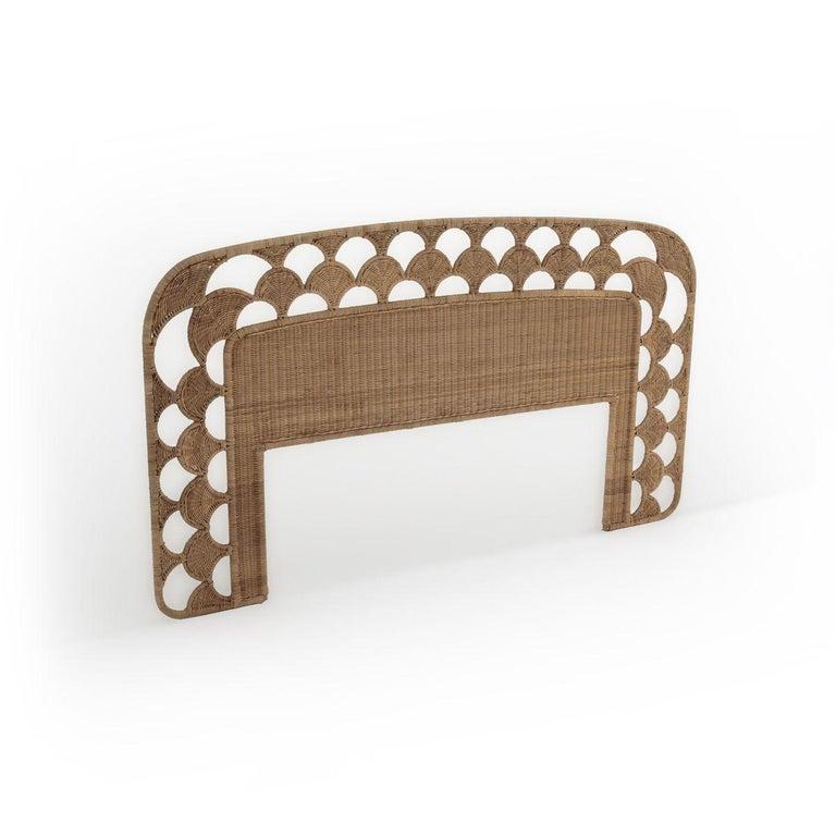 Rattan wicker headboard for queen size bed.