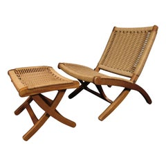 Woven Rope Chair with Ottoman