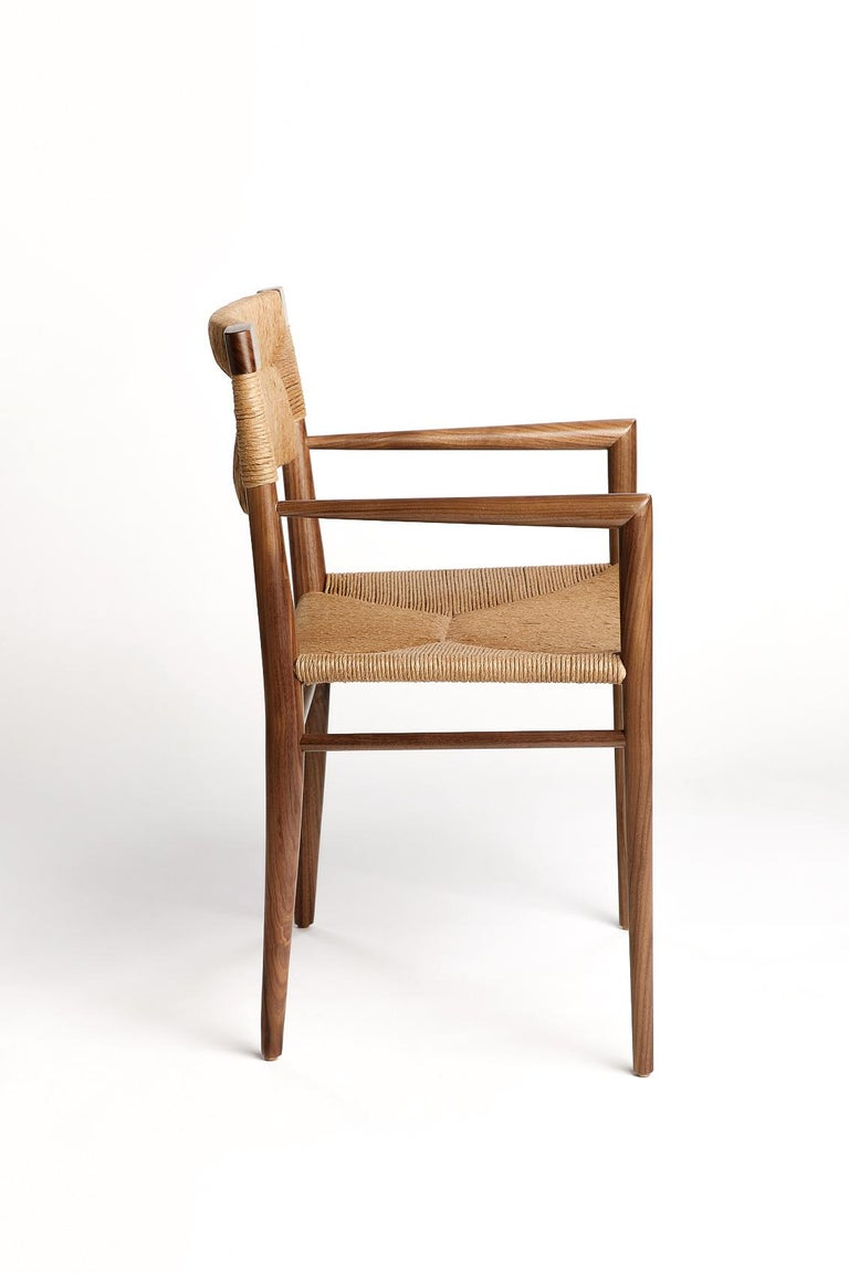 Mid-Century Modern Woven Rush-Backed Dining Armchair by Mel Smilow For Sale