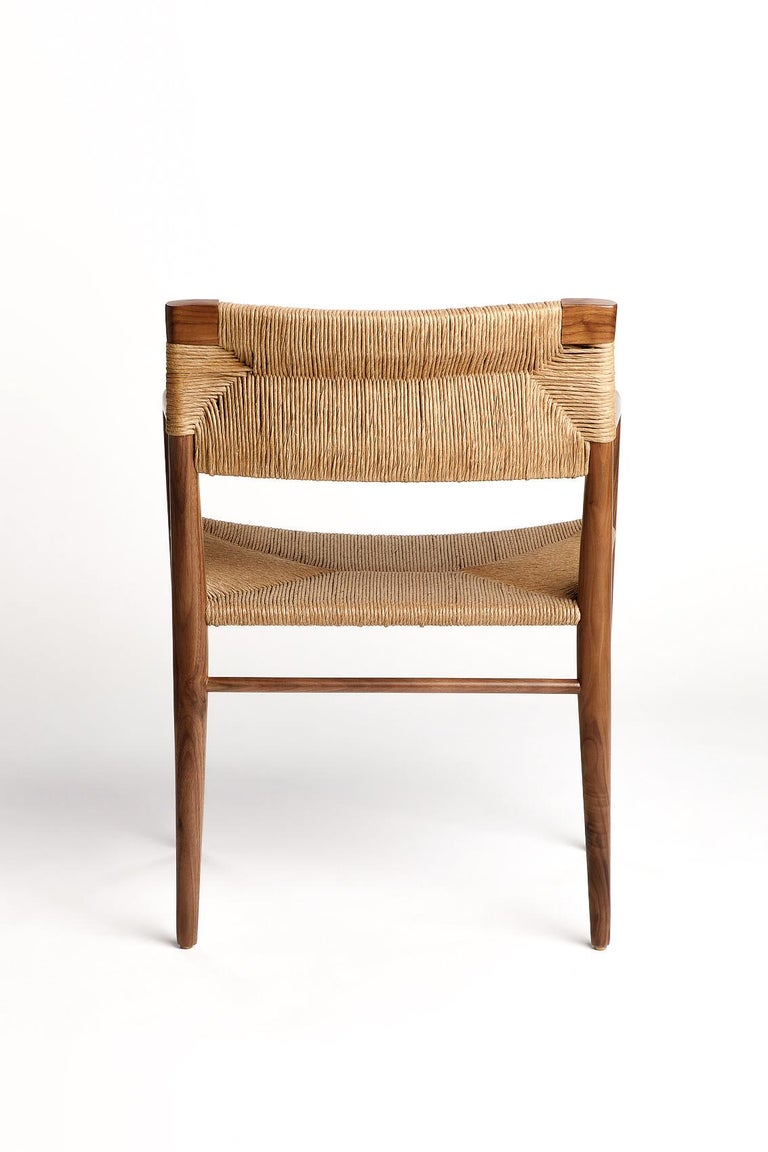 American Woven Rush-Backed Dining Armchair by Mel Smilow For Sale
