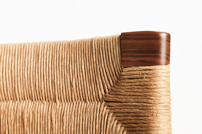 Woven Rush-Backed Dining Armchair by Mel Smilow In New Condition For Sale In New York, NY