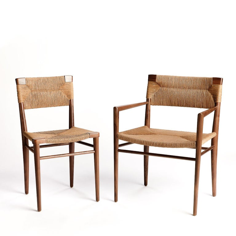 Contemporary Woven Rush-Backed Dining Armchair by Mel Smilow For Sale