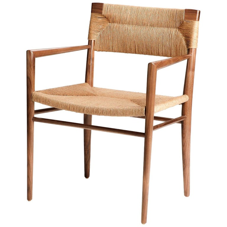 Woven Rush-Backed Dining Armchair by Mel Smilow For Sale
