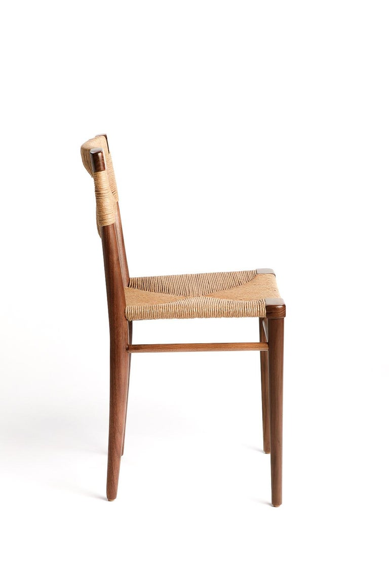 Mid-Century Modern Woven Rush-Backed Dining Side Chair by Mel Smilow For Sale