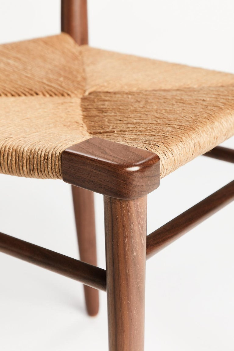 Hand-Woven Woven Rush-Backed Dining Side Chair by Mel Smilow For Sale