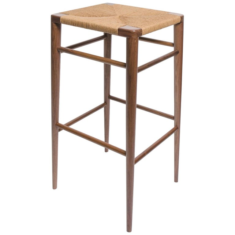 Woven Rush Counter Stool by Mel Smilow For Sale