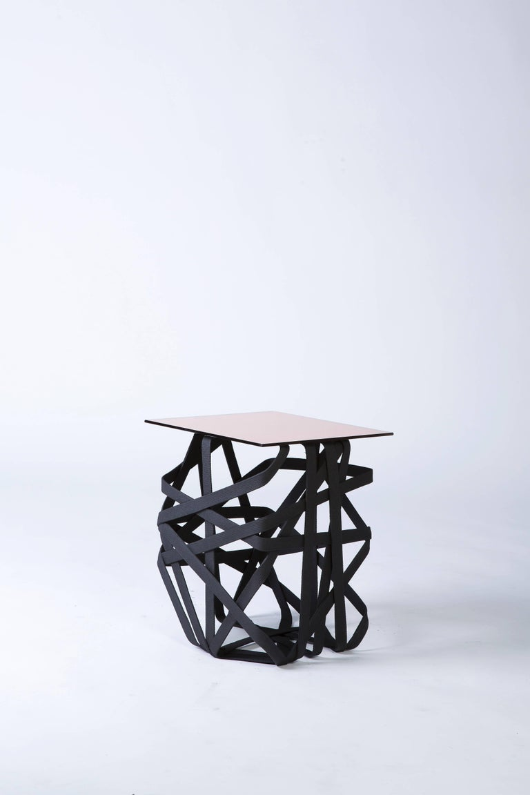 American 'Woven' Side Table with Rose Gold Mirror Surface For Sale