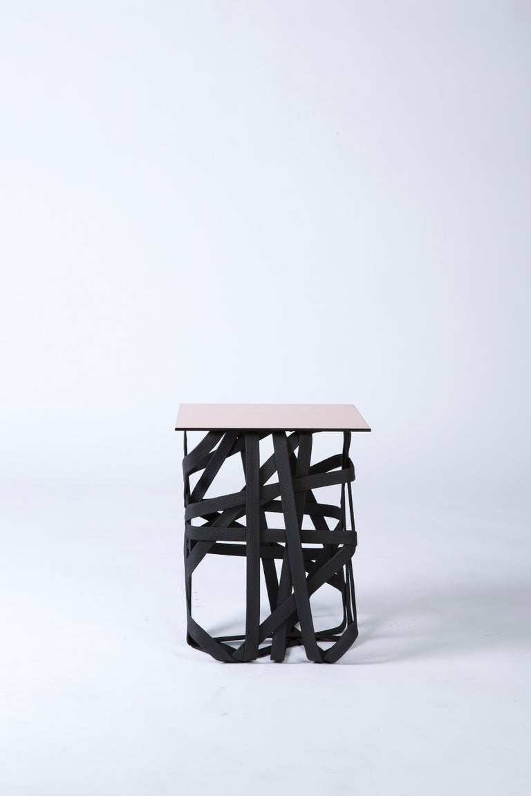 'Woven' Side Table with Rose Gold Mirror Surface In New Condition For Sale In Brooklyn, NY