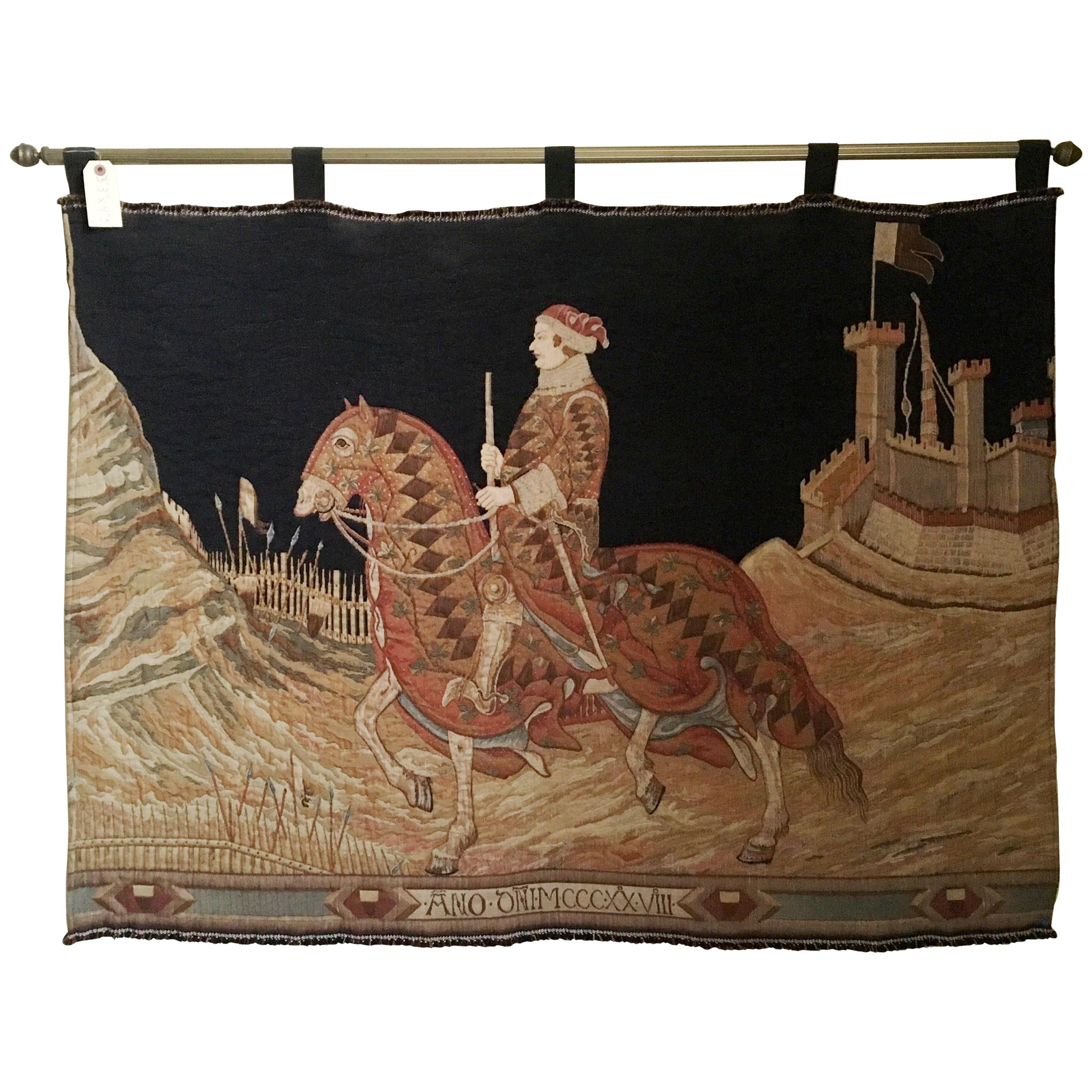Italian Woven Tapestry of Rider
