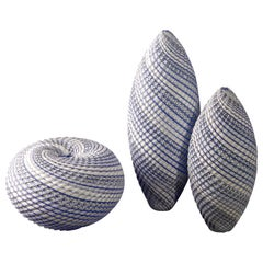 Woven Three Tone Blue Trio, a Blue and White Glass Installation by Layne Rowe