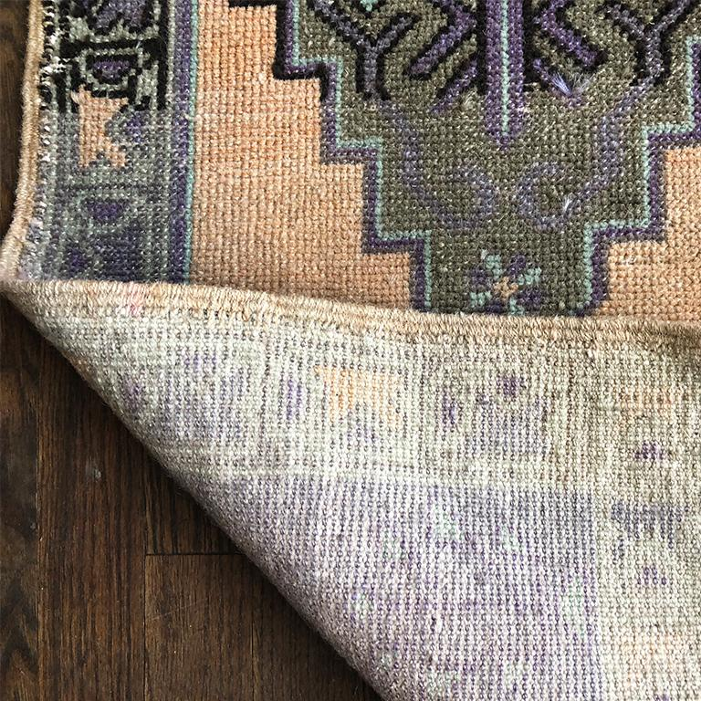 Tribal Woven Turkish Purple and Peach Rug For Sale