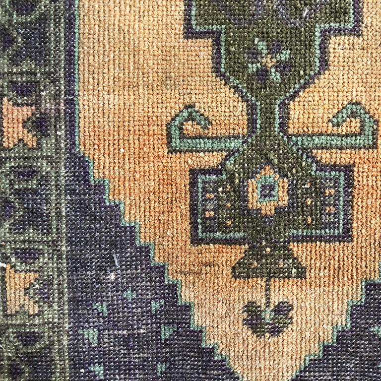 Woven Turkish Purple and Peach Rug In Good Condition For Sale In Oklahoma City, OK