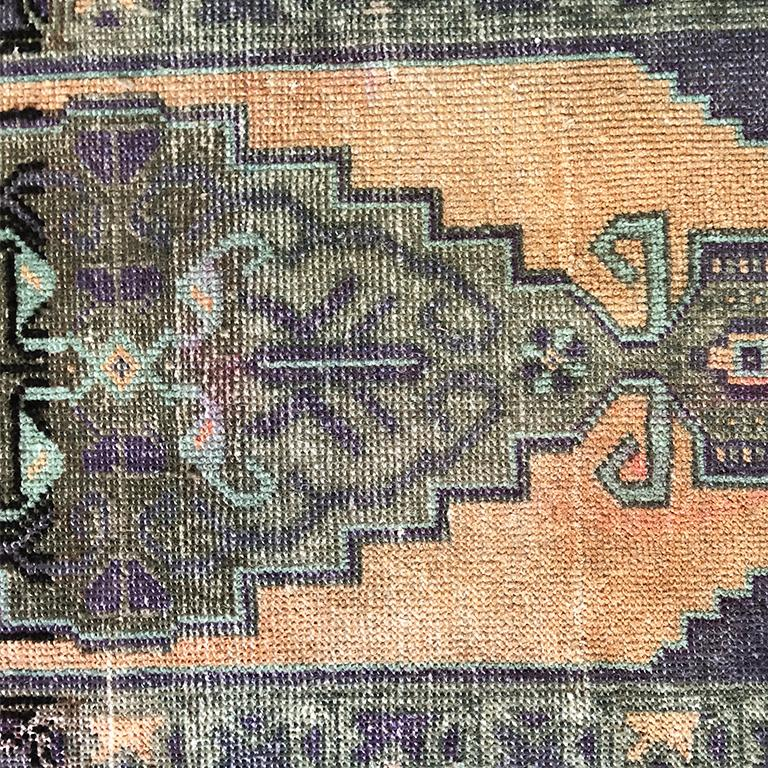Late 20th Century Woven Turkish Purple and Peach Rug For Sale