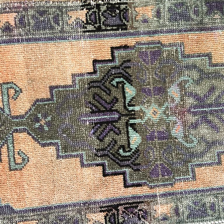 Wool Woven Turkish Purple and Peach Rug For Sale