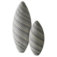 Woven Two-Tone White Pair, an Organic Textured Art Glass Duo by Layne Row