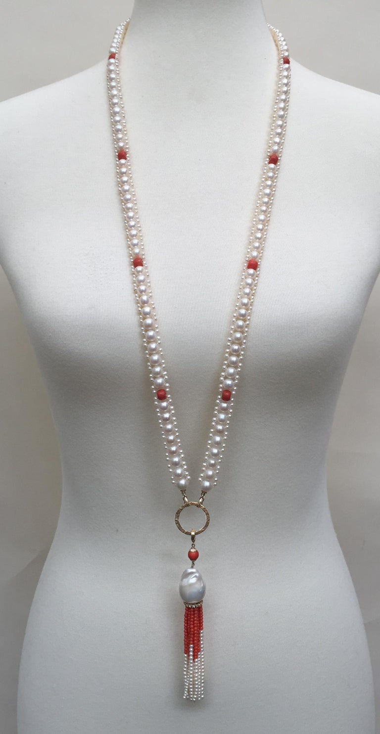 Woven White Pearl And Coral Necklace With Large Baroque