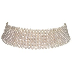 Marina J Bridal Woven Pearl Choker with Silver Sliding Clasp